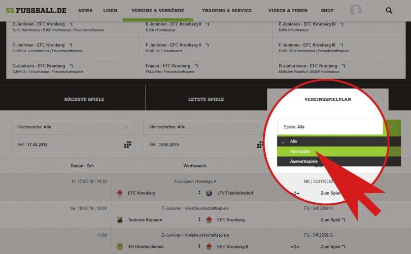 EFC Kronberg - Heimspielplan